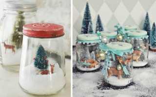 Новогодняя банка со снегом декор своими руками